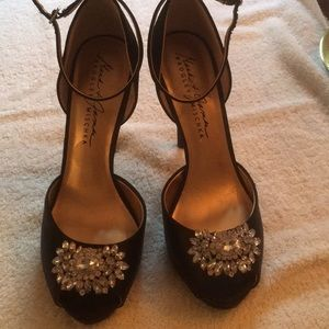 High Heel Black Peep Toe Shoes
